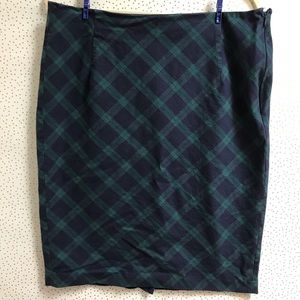 Old Navy Blue Green Plaid Stretchy Pencil Skirt
